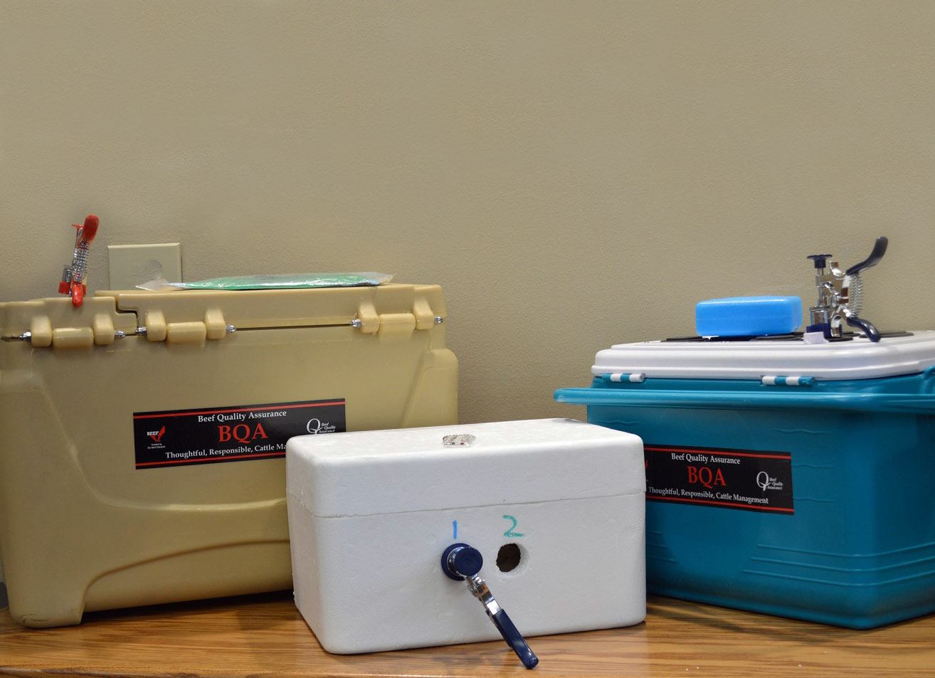 When preparing to handle vaccines and use them, keep a cooler with ice packs to ensure the temperature while processing cattle.  Photo courtesy of Rob Eirich.