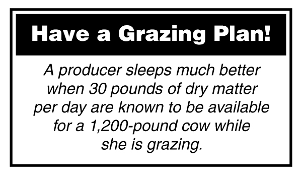 A producer sleeps much better when 30 pounds of dry matter per day are known to be available for a 1,200-pound cow while she is grazing.